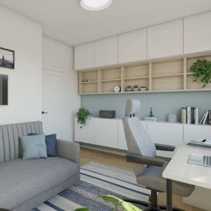 pomysł na biuro w domu, sofa do gabinetu w domu