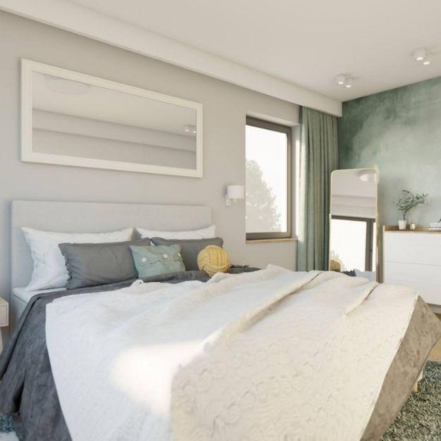 pomysł na jasną sypialnię, szare ściany w sypialni, pomysł na dekorację ściany w sypialni