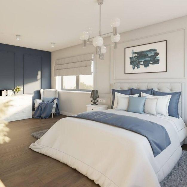 jasna sypialnia, dekoracje na ściany w sypialni, oświetlenie do sypialni
