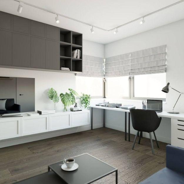 pomysł na biuro w domu, miejsce do pracy w domu, biuro domowe z sofą i stolikiem kawowym