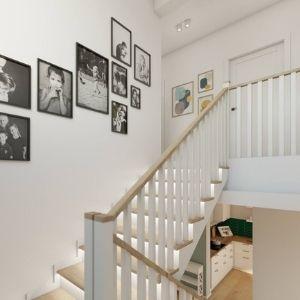 drewniane schody z podświetleniem, jak udekorować ściany przy schodach