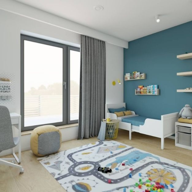 pomysł na pokój dziecka, jak urządzić miejsce do zabawy w pokoju dziecka, zielona ściana w pokoju dziecka