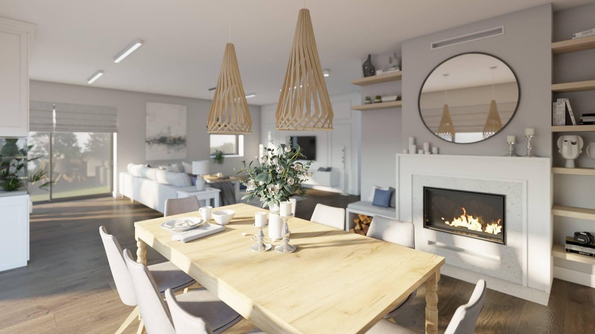 pomysł na jadalnie przy salonie, kominek w jadalni, pomysł na oświetlenie nad stołem w jadalni