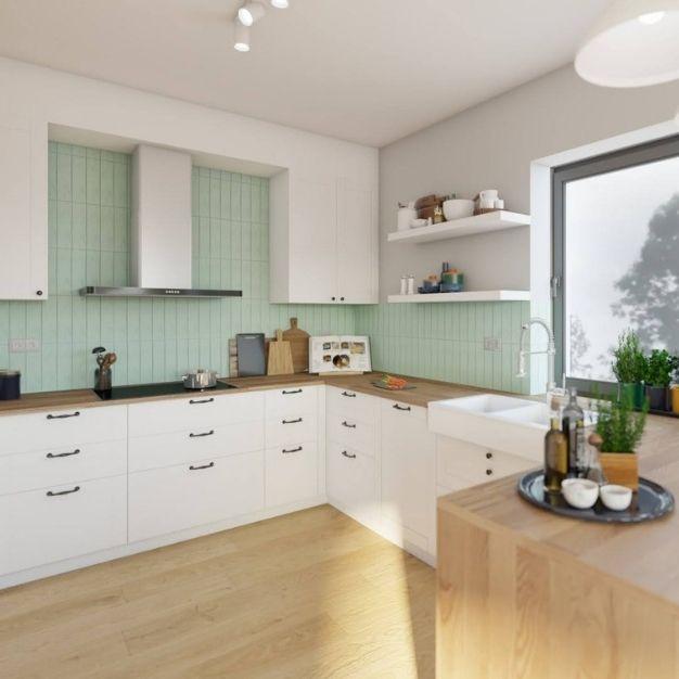 pomysł na kuchnię z białymi frontami, drewniany blat do kuchni