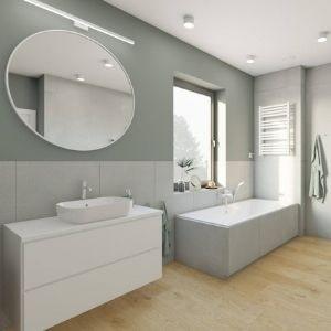szare płytki do łazienki, pomysł na dużą łazienkę z wanną