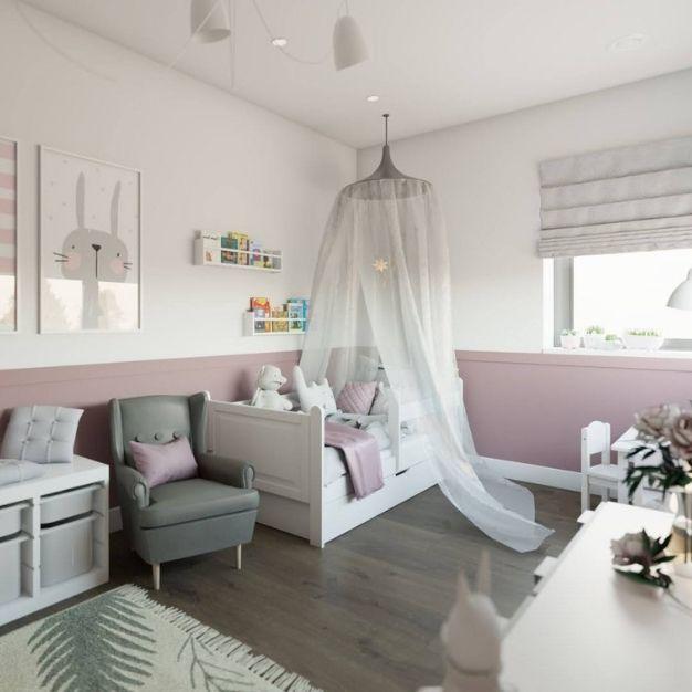 pokój dziecięcy z łóżkiem z baldachimem, pokój dla dziewczynki z różowym kolorem, drewniana podłoga w pokoju dziecięcym