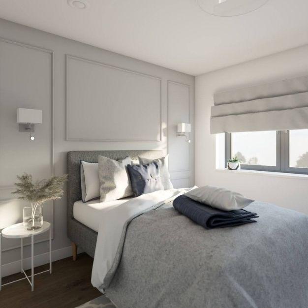 pokój gościnny z łóżkiem, szare ściany w pokoju gościnnym