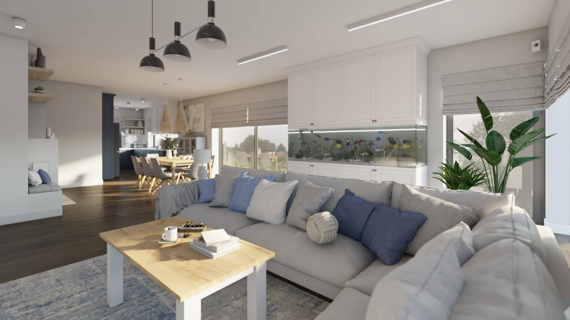 duży jasny salon z szarą sofą, duże akwarium w salonie, oświetlenie do salonu