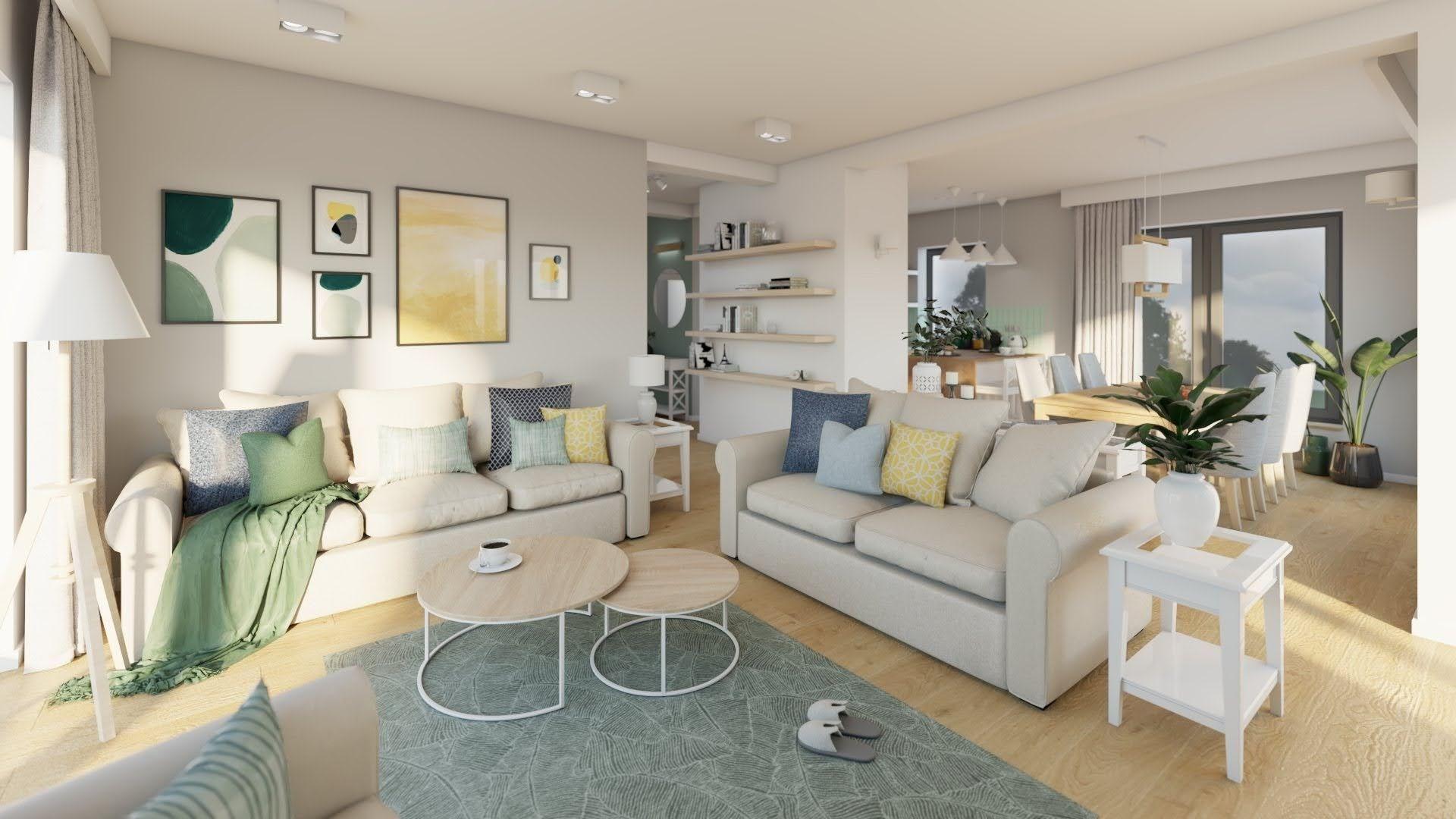 Jasny salon z dwiema sofami, przestronny salon z jadalnią
