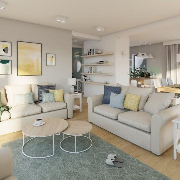 jak zaprojektować duży salon, pomysł na stolik kawowy do salonu, jasna sofa do salonu
